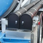 Hose tube containers for tanker vehicles